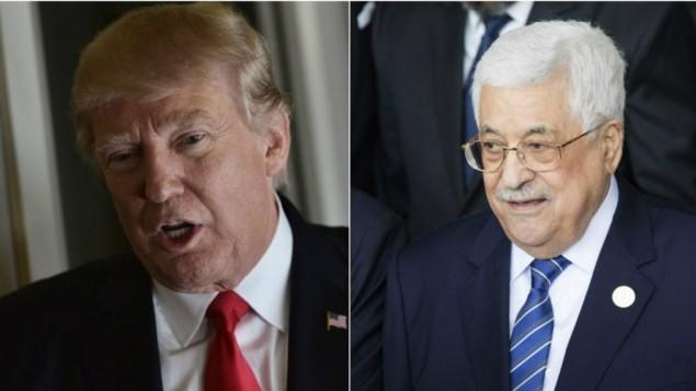 الرئيس الأمريكي دونالد ترامب في 3 فبراير، 2017 (من اليسار) ورئيس السلطة الفلسطينية محمود عباس، 30 يناير، 2017. (Mandel Ngan/AFP; Zacharias Abubeker/AFP)