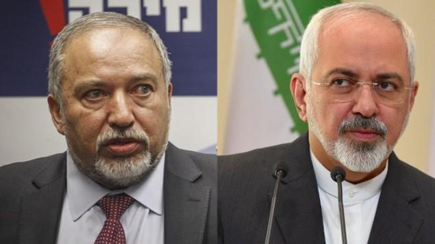 وزير الدفاع أفيغدور ليبرمان (من اليسار) ووزير الخارجية الإيراني محمد جواد ظريف. (Photo credit: Flash90 and AFP)