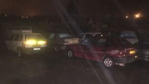 مركبات تمت مصادرتها من قبل قوات الأمن الإسرائيلية في وقت متأخر من ليلة الثلاثاء، 14 فبراير، 2017. (IDF Spokesperson's Unit)