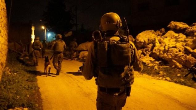 جنود اسرائيليون خلال حملة اعتقال في بلدة عبود، في مركز الضفة الغربية، 23 فبراير 2017 (IDF Spokesperson's Unit)