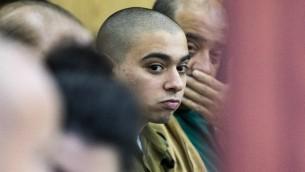 إيلور عزاريا خلال محاكمته في المحكمة العسكرية في تل ابيب، 31 يناير 2017 (AFP Photo/Jack Guez)