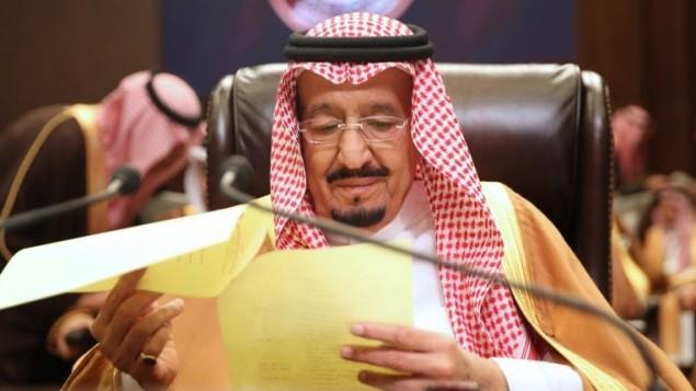 العاهل السعودي الملك سلمان خلال القمة العربية في الاردن، 29 مارس 2017 (AFP/Khalil Mazraawi)