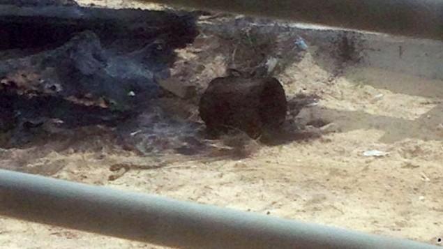 إحدى العبوتين الناسفتين اللتين تم العثور عليهما وتفكيكهما من قبل الجيش الإسرائيلي شمال السياج الحدود مع غزة، 7 مارس، 2017. (وحدة المتحدث بإسم الجيش الإسرائيلي)