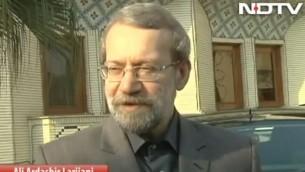 رئيس البرلمان الإيراني علي لاريجاني. (screen capture: Youtube/NDTV)
