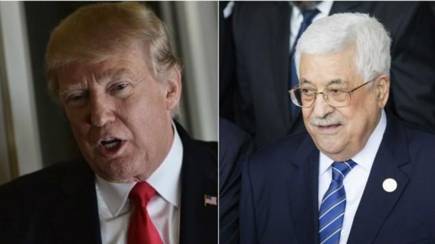 الرئيس الامريكي دونالد ترامب في 3 فبراير 2017؛ الرئيس الفلسطيني محمود عباس في 20 يناير 2017 (Mandel Ngan/AFP; Zacharias Abubeker/AFP)