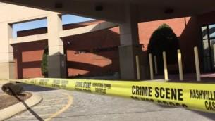 صورة توضيحية لشريط وضعته الشرطة امام مركز جماهيري يهودي في ناشفيل، تنيسي، بعدتهديد قنايب، 9 يناير 2017 (Screenshot: The Tennessean)