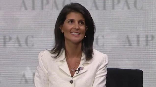 سفيرة الولايات المتحدة الى الامم المتحدة نيكي هايلي خلال حديثها في مؤتمر ايباك السنوي، 27 مارس 2017 (screen capture)