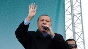 الرئيس التركي رجب طيب اردوغان خلال خطاب في ديار بكر، 1 ابريل 2017 (STR / AFP)