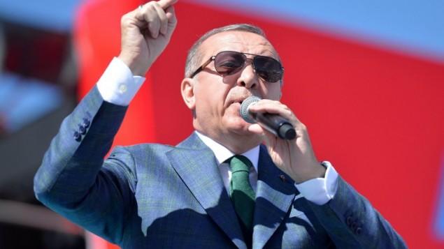 الرئيس التركي رجب طيب اردوغان خلال خطاب في انقرة، 2 ابريل 2017 (ADEM ALTAN / AFP)