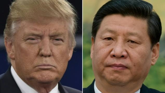 صورة مركبة تظهر الرئيس الصيني شي جينبينغ والرئيس الامريكي دونالد ترامب (ED JONES, PAUL J. RICHARDS / AFP)