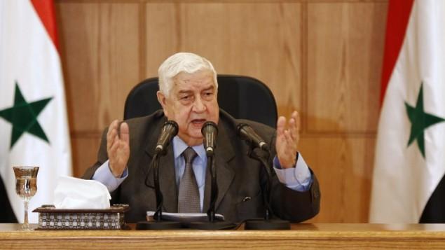 وزير الخارجية السوري وليد المعلم في مؤتمر صحافي في دمشق، 6 ابريل 2017 (LOUAI BESHARA / AFP)
