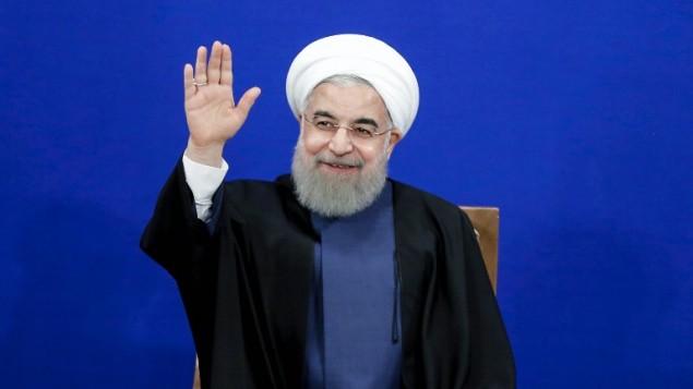 الرئيس الإيراني حسن روحاني خلال مؤتمر صحفي في طهران، 10 ابريل 2017 (ATTA KENARE / AFP)