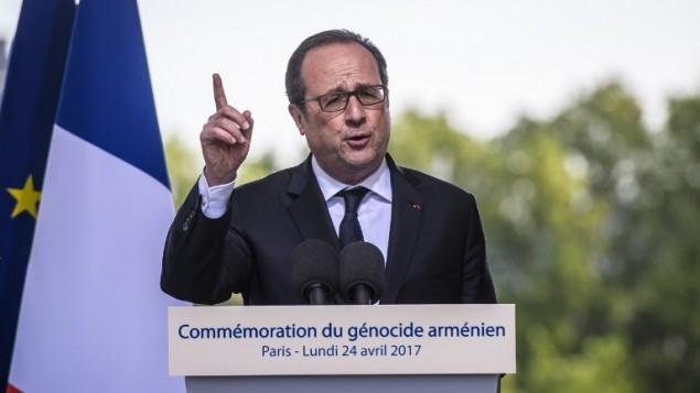 الرئيس الفرنسي فرنسوا هولاند خلال خطاب في باريس، 24 ابريل 2017 (CHRISTOPHE PETIT TESSON / POOL / AFP)