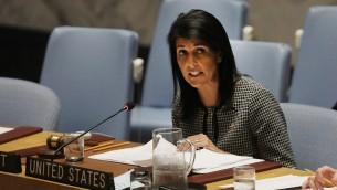 السفيرة الاميركية لدى الامم المتحدة نيكي هايلي تتحدث امام مجلس الامن الدولي حول الاوضاع في الشرق الاوسط، في مقر الامم المتحدة في نيويورك، 12 ابريل 2017 (Spencer Platt/Getty Images/AFP)