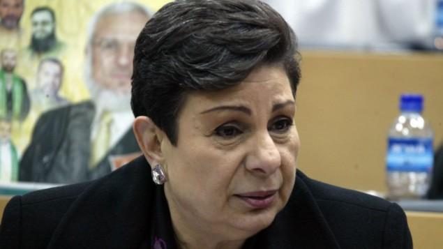 حنان عشراوي، المسؤولة في منظمة التحرير الفلسطينية. (Ahmad Gharabli/Flash90)