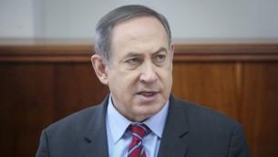 رئيس الوزراء بينيامين نتنياهو يترأس جلسة الحكومة في القدس، 26 مارس، 2017 (Marc Israel Sellem/Pool)