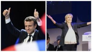 مرشح الإنتخابات الرئاسية الفرنسية عن حركة 'إلى الأمام!' ايمانويل ماكرون، من يسار الصورة (AFP/Eric FEFERBERG) والمرشحة عن حزب 'الجبهة الوطنية، مارين لوبن (AFP/Joel SAGET) يحتفلان بإنتقالهما إلى الجولة الثانية من الإنتخابات الرئاسية في 23 أبريل، 2017 . الإثنان سيتواجهان في 7 مايو.