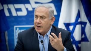 رئيس الوزراء بينيامين نتنياهو يترأس جلسة كتلة 'الليكود' في الكنيست، 29 مايو 2017 (Yonatan Sindel/Flash90)
