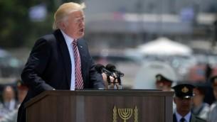 الرئيس الأمريكي دونالد ترامب يلقي خطابا عند وصوله إلى مطار بن غوريون الدولي 22/05/2017   AFP Photo/Mandel Ngan