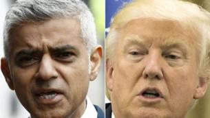 صورة مركبة للرئيس الامريكي دونالد ترامب (يمين) ورئيس بلدية لندن صادق خان (ATEF SAFADI, ODD ANDERSEN / AFP)