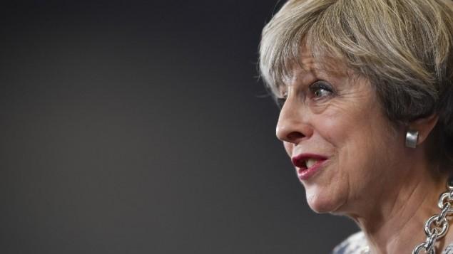 رئيسة وزراء بريطانيا وزعيمة حزب المحافظين تيريزا ماي تتحدث خلال حدث إنتخابي في نورويتش، شرق إنجلترا، 7 يونيو، 2017. (AFP PHOTO / Ben STANSALL)