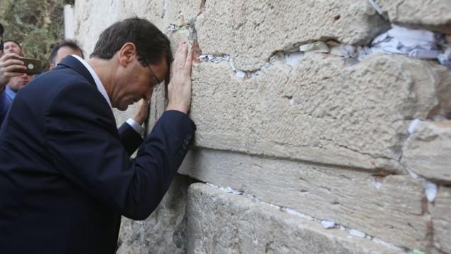يتسحاك هرتسوغ يصلي في الحائط الغربي في القدس، 8 اكتوبر 2015 (Yonatan Sindel/Flash90)