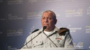 رئيس هيئة أركان الجيش الإسرائيلي غادي آيزنكوت يلقي كلمة  في مؤتمر هرتسليا في المدينة الساحلية الإسرائيلية، 20 يونيو، 2017. (Hagai Fried/Herzliya Conference)