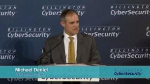 لقطة شاشة من فيديو لمايكل دانييل، منسق الأمن السيبراني للرئيس الأمريكي السابق باراك أوباما، سبتمبر 2016. (Tom Billington)