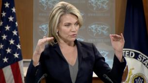 المتحدثة بإسم وزارة الخارجية الأمريكية هيذر نويرت تتحدث للصحافيين خلال مؤتمر صحفي في العاصمة واشنطن، 6 يونيو، 2017. (لقطة شاشة)