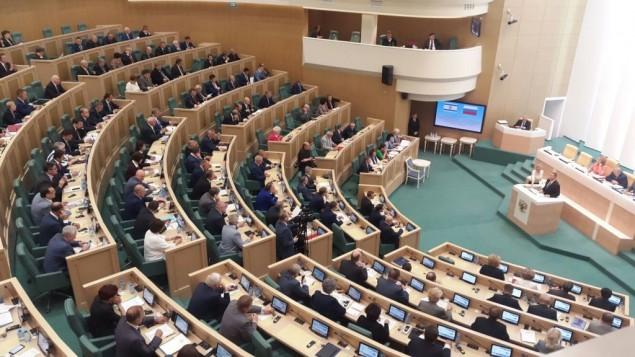 رئيس الكنيست يولي إلدشتين يتحدث أمام البرلمان الروسي الأربعاء، 28 يونيو، 2017. (Marissa Newman/Times of Israel)