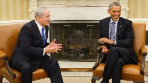 الرئيس الأمريكي باراك أوباما ورئيس الوزراء بينيامين نتنياهو في المكتب البيضاوي في البيت الأبيض، 9 نوفمبر، 2015 (Haim Zach/GPO/via JTA)