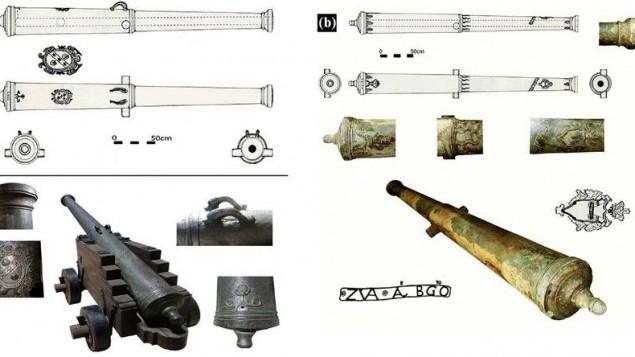 المدافع البرونزية كما كانت عند اكتشافها في البحر والعناصر الزخرفية على المدفع C  بعد تنظيفه. (Photos: E. Galili)