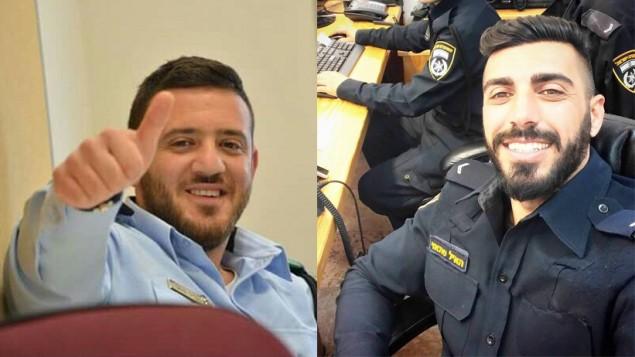 الضابط  كامل شنان، يسار، والضابط هايل سيتاوي، يمين، ضباط الشرطة الذين قتلوا في الهجوم بالقرب من الحرم القدسي في القدس في 14 يوليو 2017. (Israel Police)