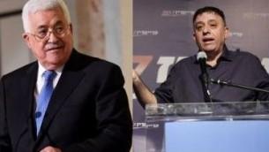 رئيس السلطة الفلسطينية محمود عباس ورئيس حزب العمل آفي غاباي. (AFP/Jack Guez and Fethi Belaid)
