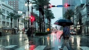 الامطار خلال الاعصار هارفي في مدينة نيو ارلينز، في ولاية لويزيانا، 29 اغسطس 2017 (Shawn Fink/AFP)