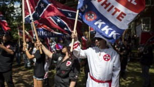 احتجاجات كو كلوكس كلان في 8 يوليو 2017 في شارلوتسفيل، فيرجينيا. (Chet Strange/Getty Images/AFP)