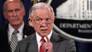 وزير العدل الاميركي جيف سيشنز، في وزارة العدل في واشنطن، 4 اغسطس 2017 (ALEX WONG / GETTY IMAGES NORTH AMERICA / AFP)