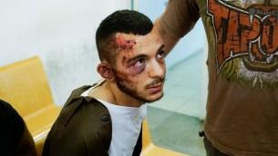علاء رائد احمد زيود في محكمة الصلح في حيفا (Basel Awidat/Flash90)