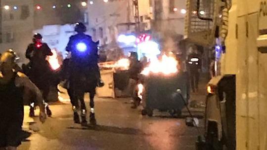 الشرطة تواجه متظاهرين في يافا، 3 اغسطس 2017 (Israel Police)