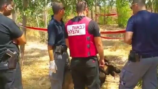 مسؤولون أمنيون إسرائيليون في موقع الحادث بالقرب من تل أداشيم حيث عثر على جثة امرأة يوم الأحد 27 أغسطس 2017. (screen capture: Channel 10)