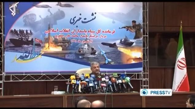 الجنرال الإيراني عبد الرحيم الموسوي يتحدث إلى وسائل الإعلام الإيرانية. (Screen capture YouTube)
