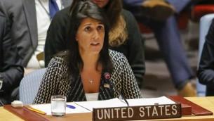 السفيرة الامريكية الى الامم المتحدة نيكي هايلي خلال جلسة لمجلس الامن الدولي 29 اغسطس 2017 (AFP PHOTO / KENA BETANCUR)