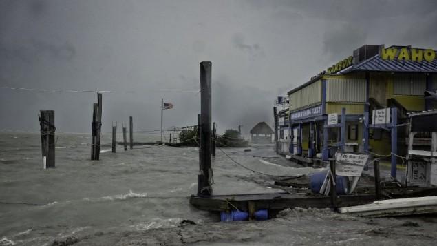 امواج تحدث اصرار في ميناء في لوريدا نتيجة الاعصار ايرما، 9 سبتمبر 2017 (GASTON DE CARDENAS / AFP)