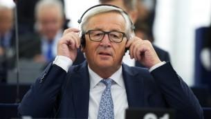 رئيس المفوضية الاوروبية جان كلود يونكر قبل خطابه السنوي عن حال الاتحاد في ستراسبورغ، 13 سبتمبر 2017 (PATRICK HERTZOG / AFP)
