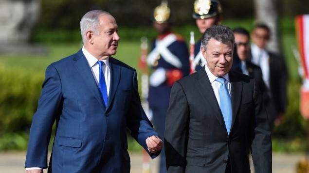 رئيس الوزراء بنيامين نتنياهو والرئيس الكولومبي خوان مانويل سانتوس في بوغوتا، 13 سبتمبر 2017 (AFP PHOTO / Raul Arboleda)