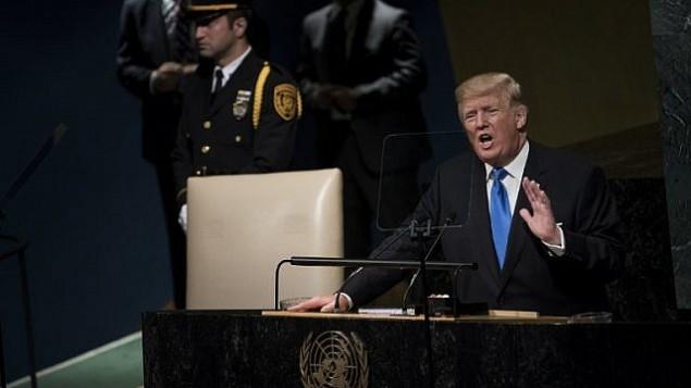 الرئيس الأمريكي دونالد ترامب يلقي بكلمة أمام الدورة ال72 للجمعية العامة للأمم المتحدة في نيويورك، 19 سبتمبر، 2017.(AFP Photo/Brendan Smialowski)