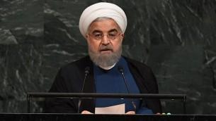 الرئيس الإيراني حسن روحاني يلقي خطابا خلال الدورة ال72 للجمعية العامة للأمم المتحدة، 20 سبتمبر، 2017، في الأمم المتحدة في نيويورك. (AFP PHOTO / ANGELA WEISS)