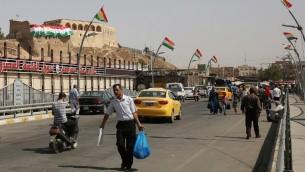 اعلام كردية في كركوك عشية الاستفتاء حول استقلال اقليم كردستان في العراق، 24 سبتمبر 2017 (AHMAD AL-RUBAYE / AFP)