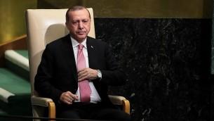 الرئيس التركي رجي اردوغان بعد تقديم خطاب امام الجمعية العامة للأمم المتحدة في نيويورك، 19 سبتمبر 2017 (Drew Angerer/Getty Images/AFP)
