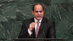 الرئيس المصري عبد الفتاح السيسيفي خطاب امام الجمعية العامة للأمم المتحدة في نيويورك، 19 سبتمبر 2017 (DREW ANGERER / GETTY IMAGES NORTH AMERICA / AFP)